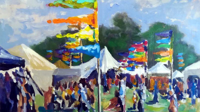 """Flags on Main Street"", Stephen Johnston (12+), Oil paints"